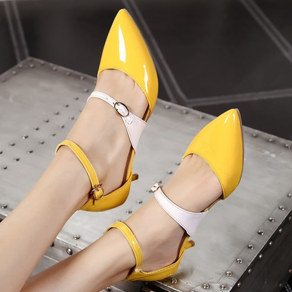 Women's Pointed Toe Patent Leather Sandals Dress Shoes for Summer 9476