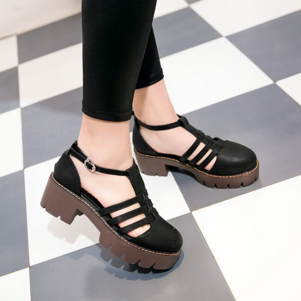 T Straps Toe Covered Women Heels Dress Shoes 4509