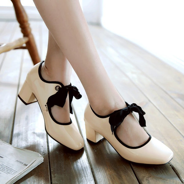 Square Toe Bow Medium Heel Shoes for Woman 8758