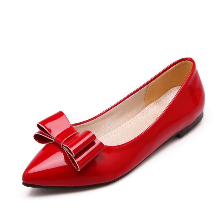 Patent Leather Pointed Toe Bow Women Flat Shoes 5977