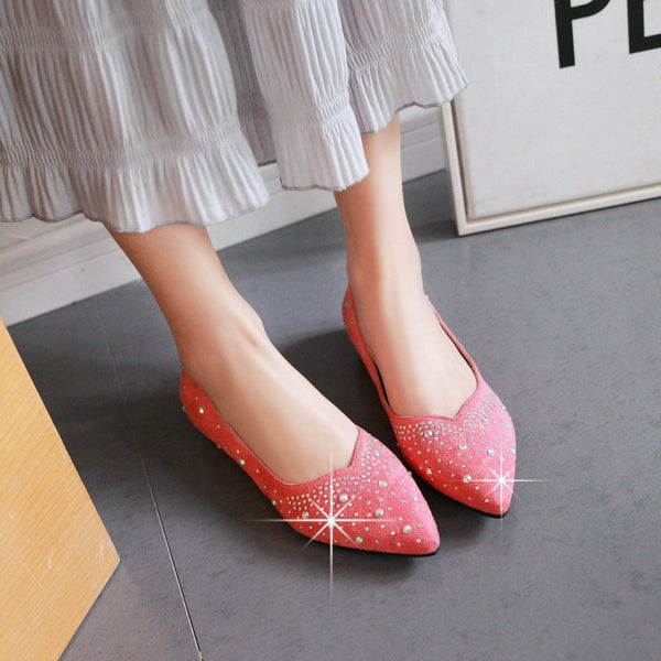 Pointed Toe Rhinestone Women Flat Shoes 7368
