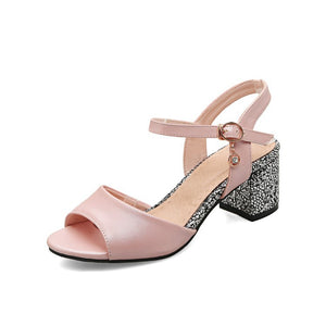 Ankle Strap Sandals Chunky Heels Shoes Woman 4384