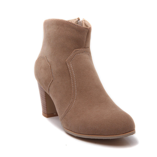Suede High Heels Short Boots Plus Size Women Shoes 3553