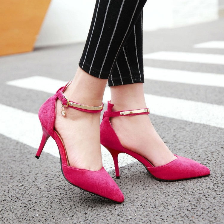 Pointed Toe Ankle Strap Stiletto High Heels Sandals Pumps Women Shoes 2379