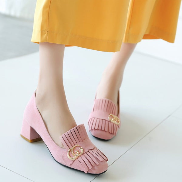 Tassel Square Chunky Heel Shoes Woman 8170