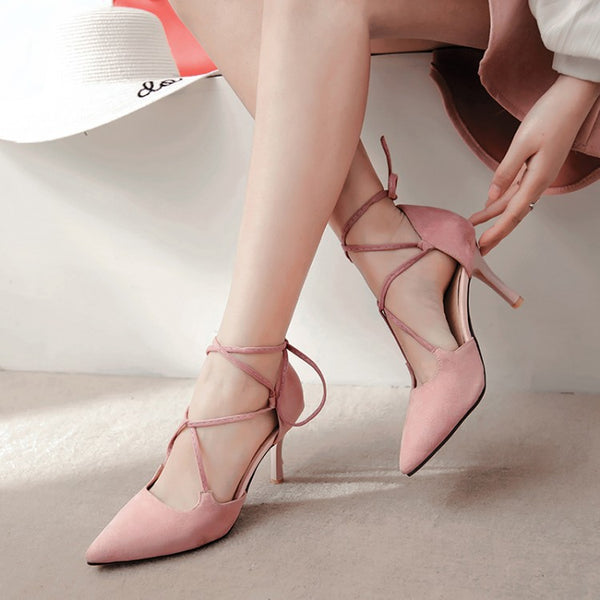 Pointed Toe Ankle Strap Velvet Stiletto High Heels Sandals Pumps Women Shoes 7455