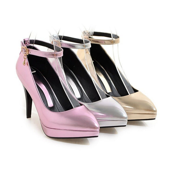 Pointed Toe Platform Pumps Women Ankle Straps High Heels Shoes 1406