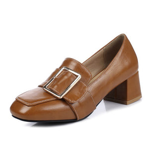 Buckle Women Mid Chunky Heels Shoes 7271