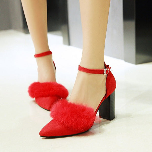 Women's Ankle Straps Fur Chunky High Heels Shoes 6254