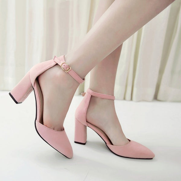 Pointed Toe Ankle Strap Chunky Heel Sandals Pumps Women Shoes 1551