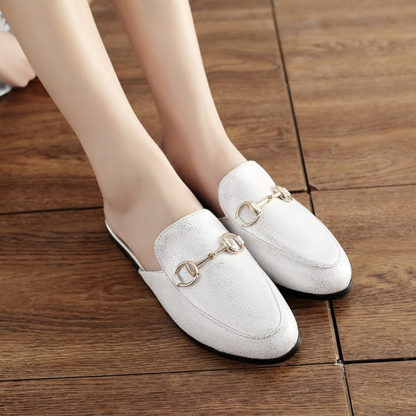 Metal Buckle Women Flat Shoes 5982