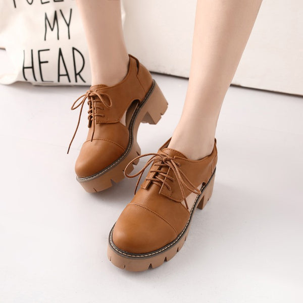 Hollow Out Lace Up Women Chunky Heels Shoes 6982