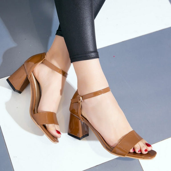 Ankle Strap Chunky Sandals High Heels Shoes Woman 4335