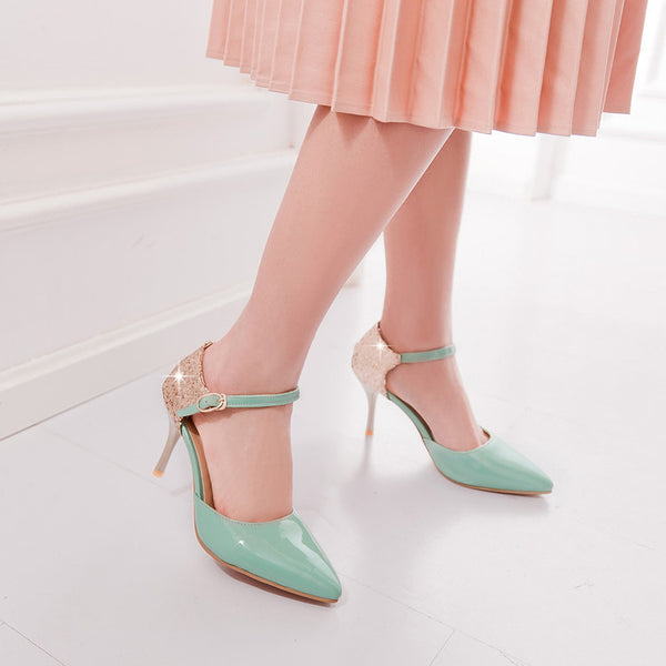 Pointed Toe Ankle Strap Sequin Stiletto High Heels Sandals Pumps Women Shoes 7444