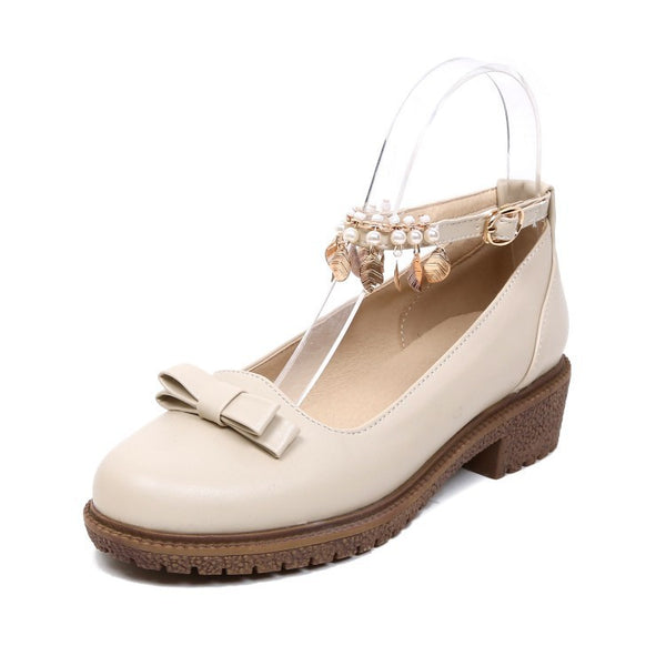 Women Ankle Straps Pearl Bow Mid Chunky Heels Shoes 1674