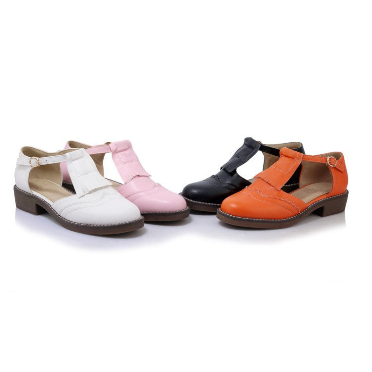 Women Tassel T Straps Flat Sandals Shoes 7103