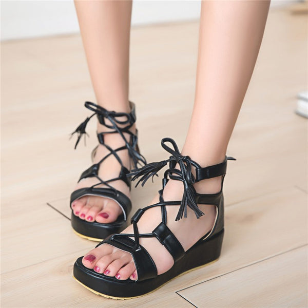 Tassel Women Gladiator Sandals Platform Wedge Heels Shoes for Summer 7668