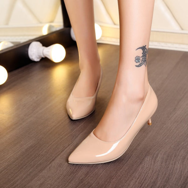Pointed Toe Women Pumps Mid Stiletto Heel Shoes 5559