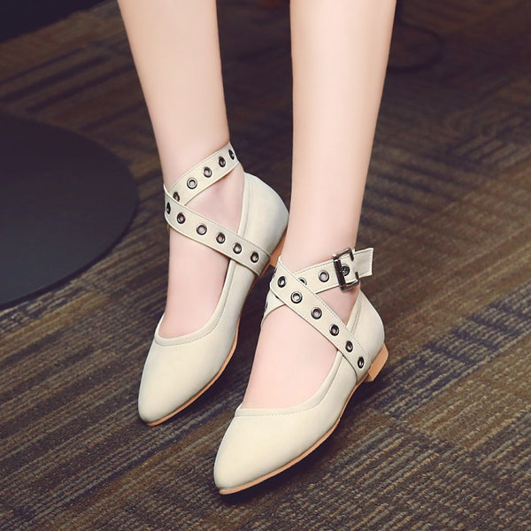 Pointed Toe Cross Straps Women Flat Shoes 7892