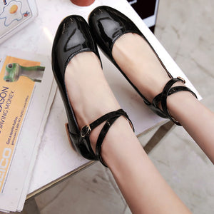 Patent Leather Straps Women Flat Shoes 2804