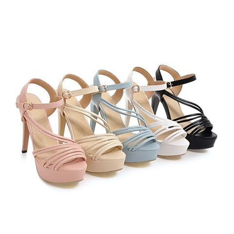 Ankle Straps Women Platform Sandals High Heels Shoes MF8550