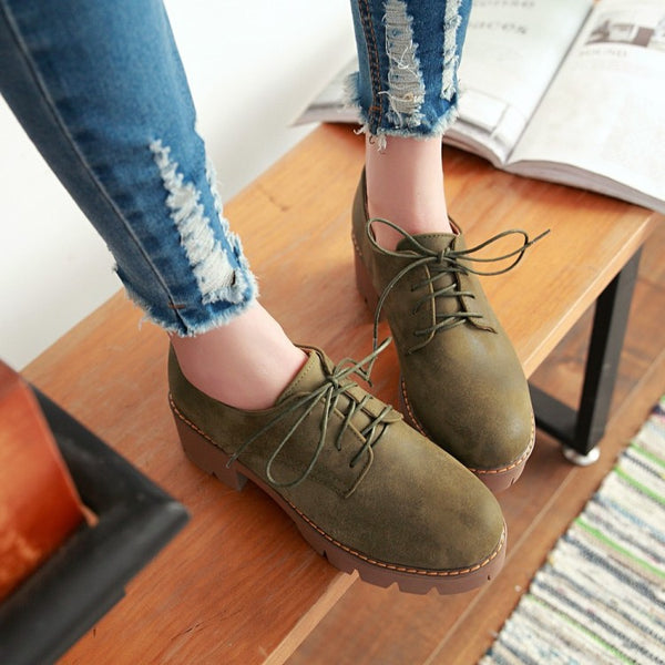 Lace Up Chunky High Heel Shoes Woman 4275