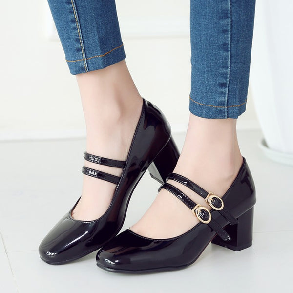 Double Straps Women Pumps Mid Chunky Heels Shoes 7684
