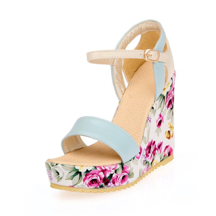 Flower Printed Ankle Straps Women Platform Sandals Wedge Heels Shoes for Summer 1919