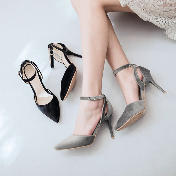Pointed Toe Ankle Strap Velvet Stiletto High Heels Sandals Pumps Women Shoes 2981