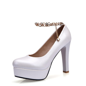 Women's Ankle Straps Rhinestone Chain Platform Chunky High Heels Shoes 7179