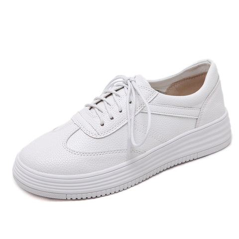 Round Toe Genuine Leather Women Sneakers Casual Shoes 6919