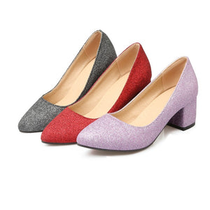 Pointed Toe Glitter Women Mid Heels Shoes 9609