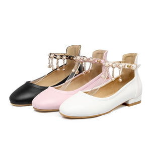 Ankle Strap Rhinestone Pearl Women Flat Shoes 5725