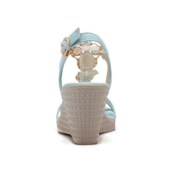 Pearl Women Platform Sandals Wedge Heels Shoes for Summer 3940