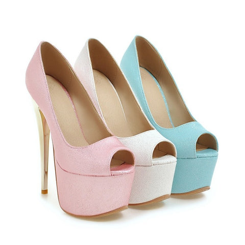 Peep Toe Platform Pumps High Heels Wedding Shoes for Woman MF5273