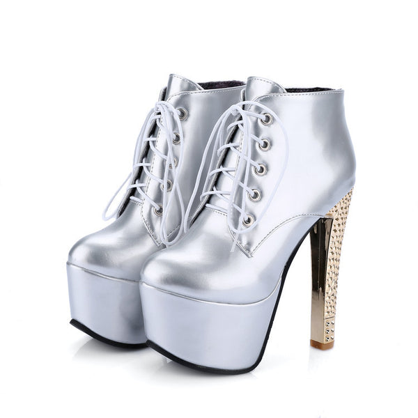 Women's Lace Up Platform Ankle Boots High Heels Shoes Autumn and Winter 9388