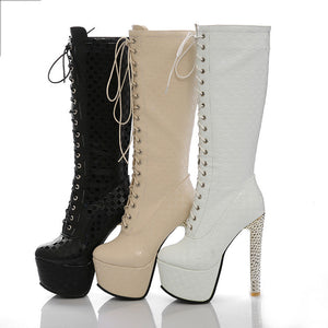 Women's Lace Up Platform Mid Calf Boots High Heels Shoes Autumn and Winter 5375
