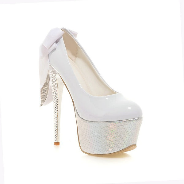Bow Tie Platform High Heeled Wedding Shoes for Women 2249