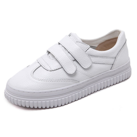 Velcro White Genuine Leather Women Sneakers Casual Shoes 4615