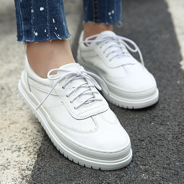Genuine Leather Lace Up Sneakers Women Casual Platform Shoes 5492