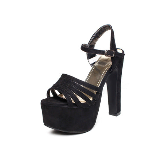 Velvet Platform Sandals Chunky High Heels Shoes Woman 8774