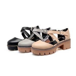 Cross Straps Women Platform Chunky Heels Shoes MF1859