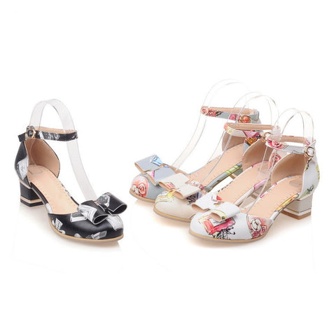 Summer Bow Tie Ankle Straps Chunky Heels Sandals for Women Shoes MF8649