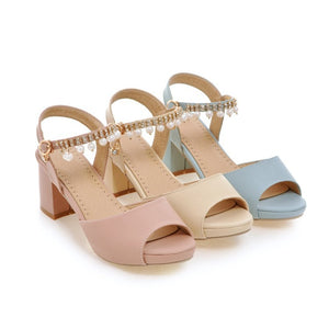 Summer Pearl Ankle Straps Chunky Heel Sandals for Women Shoes MF7344