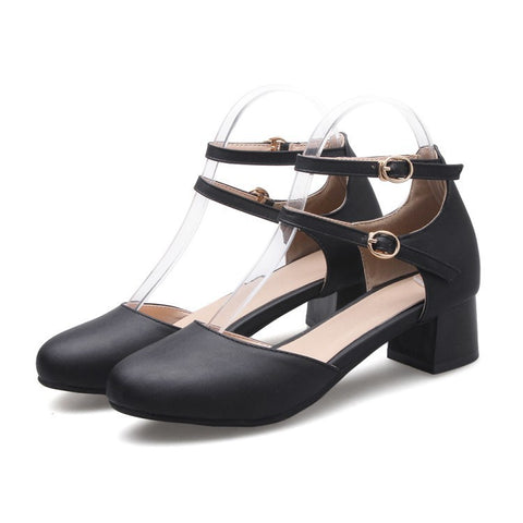 Summer Duo Straps Buckle Toe Covered Chunky Mid Heel Sandals for Women Shoes MF8180