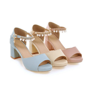 Summer Open Toe Pearl Ankle Straps Sandals for Women Shoes MF3083