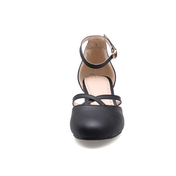 Ankle Straps Women Sandals Chunky Heels Shoes MF6681
