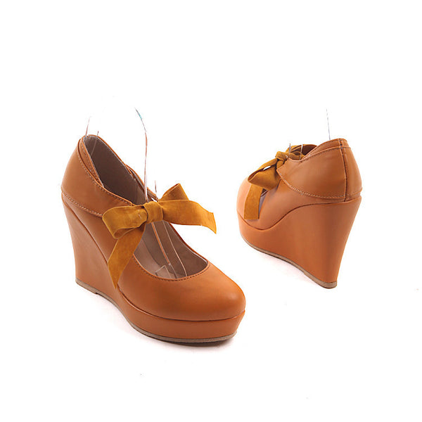 Bow Platform Wedges Heels Shoes for Women 5036