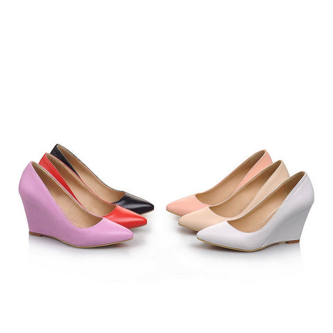 Women Pointed Toe Heels Wedge Shoes MF8556