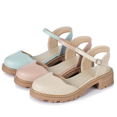 Ankle Straps Women Sandals Low Heels Shoes MF6153